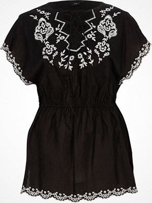 River Island Black tie front embroidered top