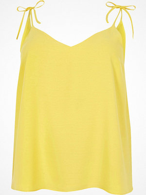 River Island Plus yellow bow shoulder cami top