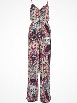 Jumpsuits & playsuits - River Island Purple floral print wide leg jumpsuit