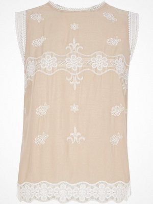 River Island Light pink embroidered sleeveless top
