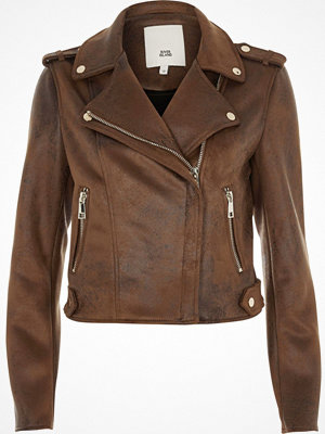 River Island Brown faux suede biker jacket