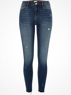 Jeans - River Island Mid blue Amelie distressed super skinny jeans
