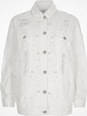 River Island White peal ripped oversized denim jacket