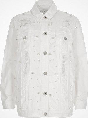 River Island White peal ripped oversized denim jacket