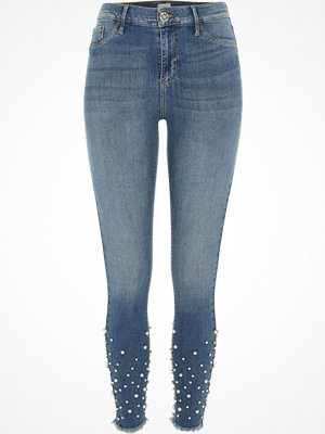 Jeans - River Island Mid authentic blue Molly embellished jeggings