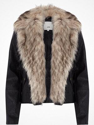 River Island Black fur trim biker jacket