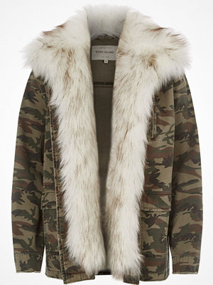 River Island River Island Womens Khaki green camo faux fur trim army jacket