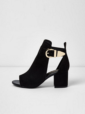 River Island Black wide fit buckle block heel shoe boot