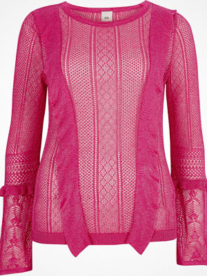 River Island Pink open knit frill detail jumper