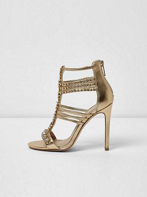 Sandaler & sandaletter - River Island Gold metallic embellished caged sandals