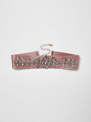 Smycken - River Island Pink satin embellished choker