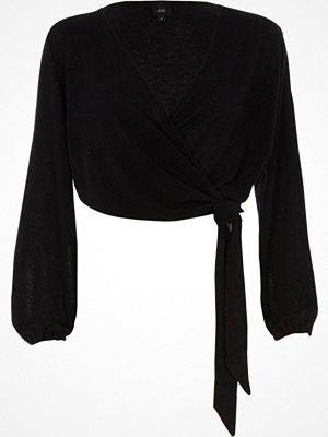 River Island Black knit wrap ballet cardigan