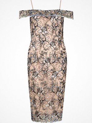 River Island Pink floral embroidered bardot bodycon dress
