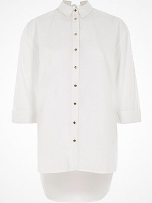 River Island White long sleeve tie back shirt