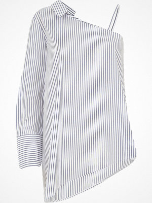 Skjortor - River Island Blue stripe one shoulder long sleeve shirt