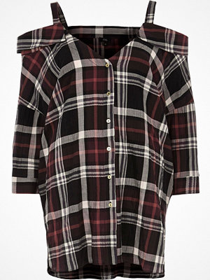 River Island River Island Womens Red check cold shoulder shirt