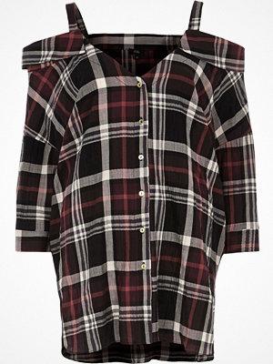 Skjortor - River Island Red check cold shoulder shirt
