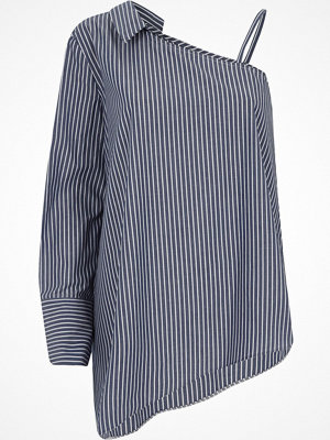 Skjortor - River Island Navy stripe print one shoulder shirt
