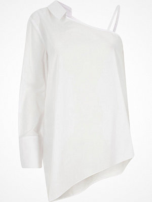 River Island White one shoulder long sleeve shirt