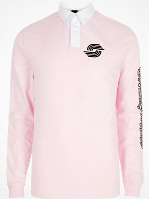 Pikétröjor - River Island Pink slim fit long sleeve rugby polo shirt
