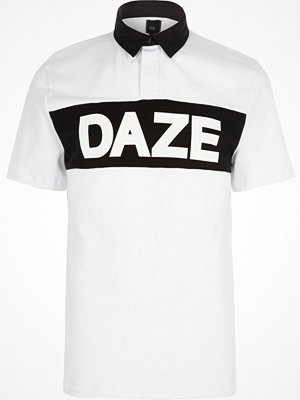 Pikétröjor - River Island White 'daze' print slim fit rugby polo shirt