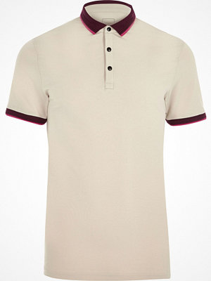 Pikétröjor - River Island Cream tipped muscle fit polo shirt