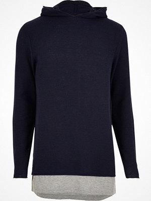 Street & luvtröjor - River Island Navy layered longline hoodie