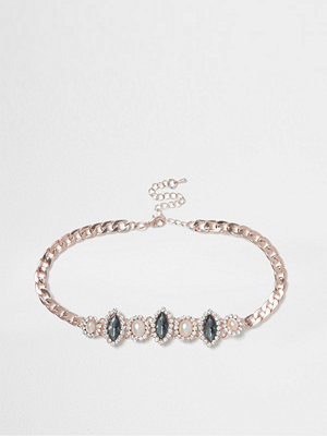 Smycken - River Island Gold tone faux pearl and gem choker