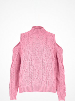 River Island Pink cable knit cold shoulder jumper