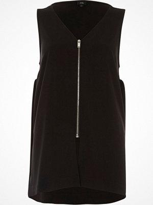 River Island Black zip front v neck loose fit vest