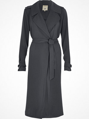 River Island Dark grey belted duster trench coat