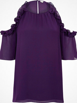 Blusar - River Island Purple frill cold shoulder blouse
