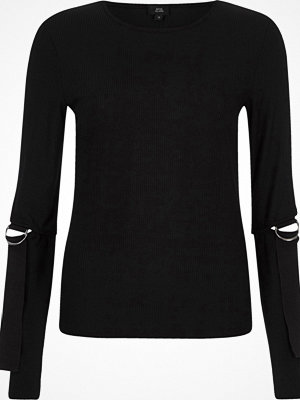 Blusar - River Island Black ribbed D-ring split long sleeve top