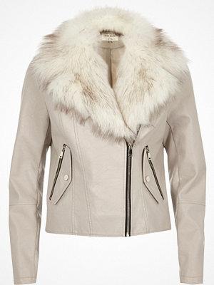 River Island Stone fur trim biker jacket