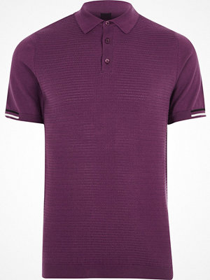 Pikétröjor - River Island Purple textured slim fit polo shirt