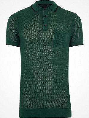 Pikétröjor - River Island River Island Mens Green mesh muscle fit polo shirt