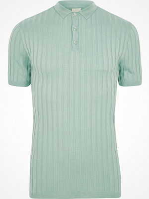 River Island Light Green ribbed muscle fit polo shirt