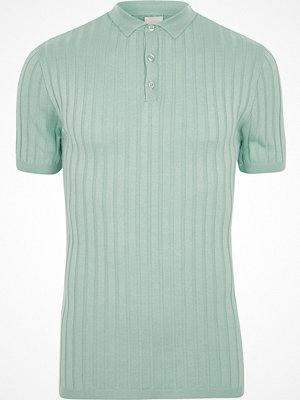 Pikétröjor - River Island Light green ribbed muscle fit polo shirt