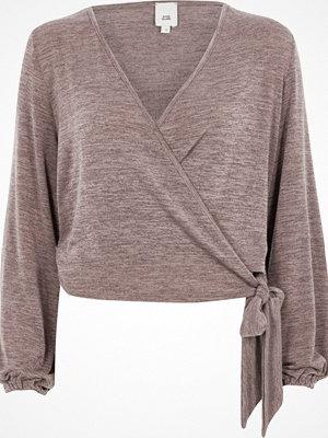 Tröjor - River Island Brown knit wrap ballet cardigan