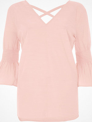 Blusar - River Island Light pink shirred bell sleeve top