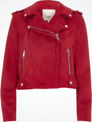 River Island Red faux suede biker jacket