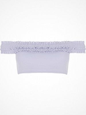 River Island Purple bardot shirred bikini top