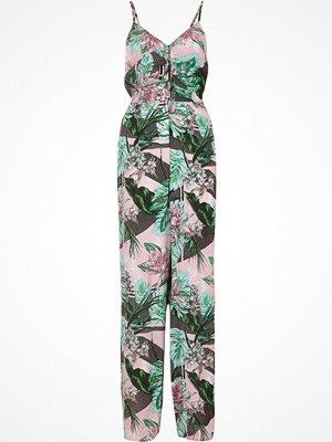 Jumpsuits & playsuits - River Island Pink tropical leaf print knot back jumpsuit