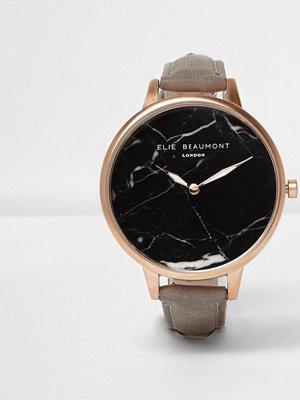 Klockor - River Island Grey Elie Beaumont black marble face watch