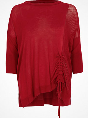 River Island Petite red knit ruched side jumper