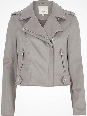 River Island Light grey faux suede biker jacket