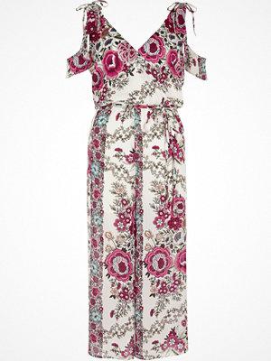 Jumpsuits & playsuits - River Island White floral cold shoulder culotte jumpsuit