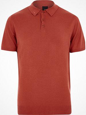 Pikétröjor - River Island River Island Mens Orange mesh knit slim fit polo shirt