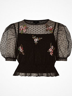 Blusar - River Island Black dobby mesh embroidered puff sleeve top