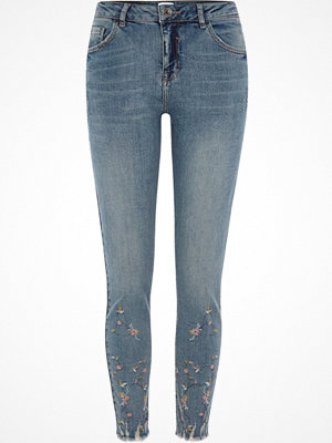 River Island Blue Alannah embroidered relaxed skinny jeans